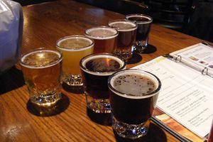Beer flight from Rock Bottom Brewery in Milwaukee.