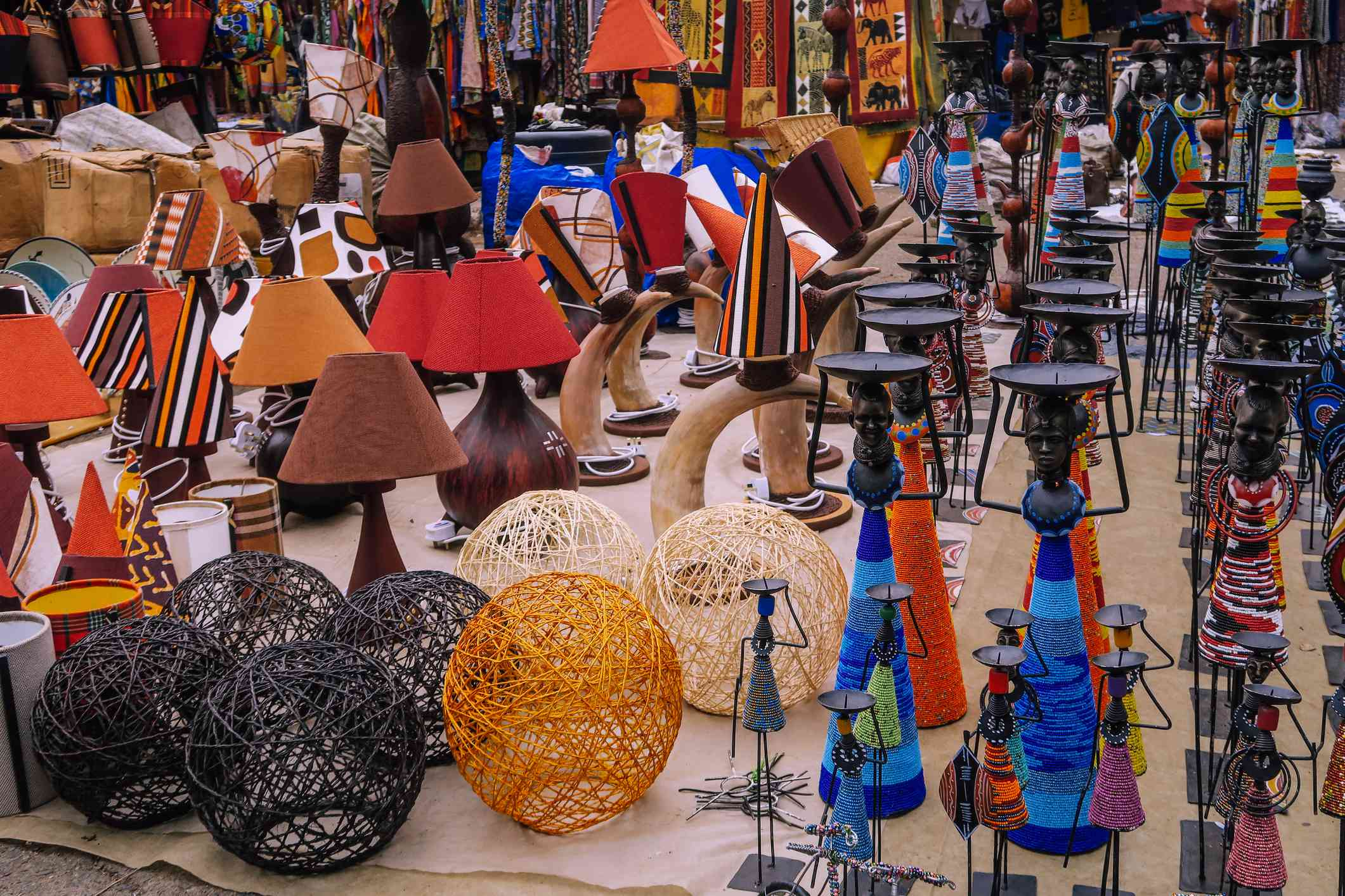 Vases and craft objects on a market in Nairobi, Kenya