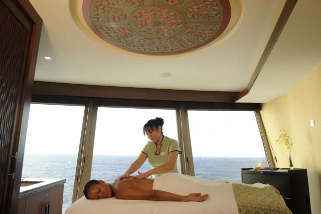 A massage room at Disney Cruise Line's Senses Spa