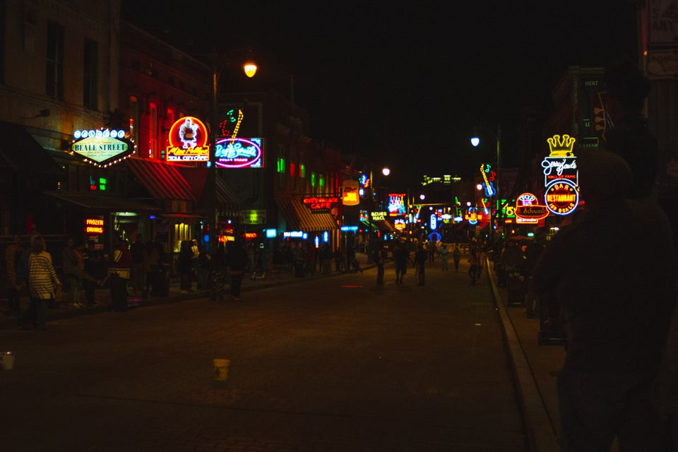 Neon lights lit up on Beale street