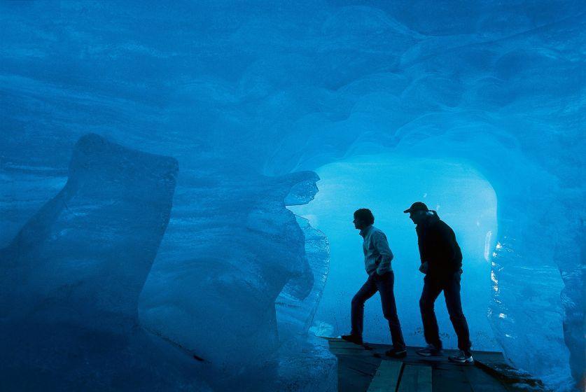 Inside the Rhone Glacier ice grotto