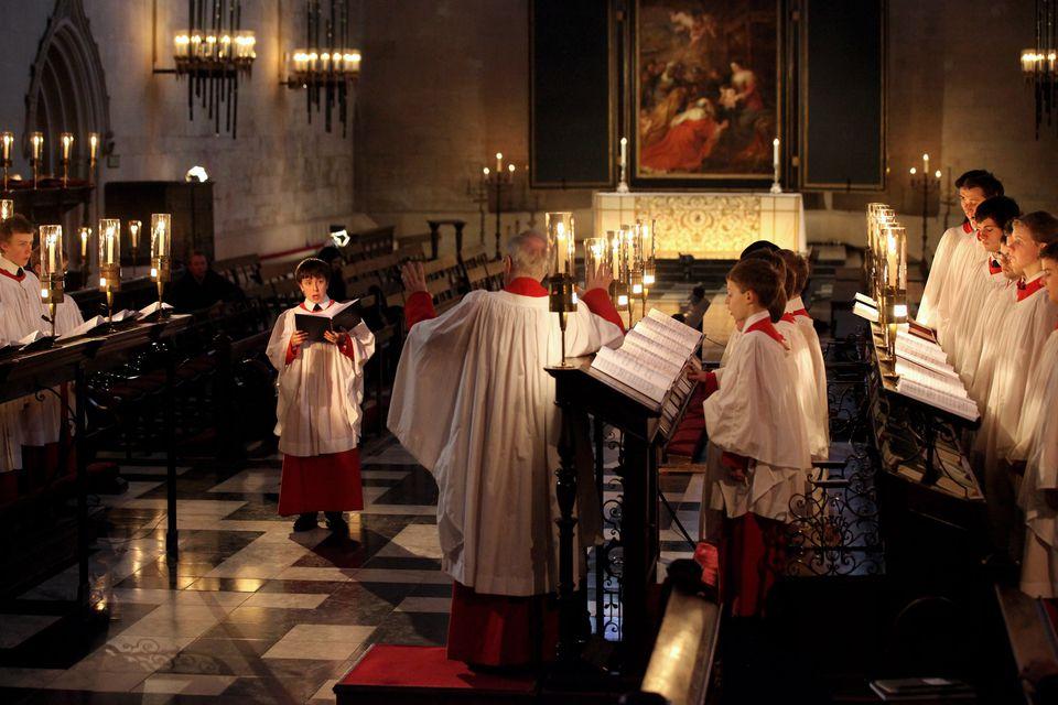 El coro de Kings College ensaya 'Un festival de nueve lecciones y villancicos'