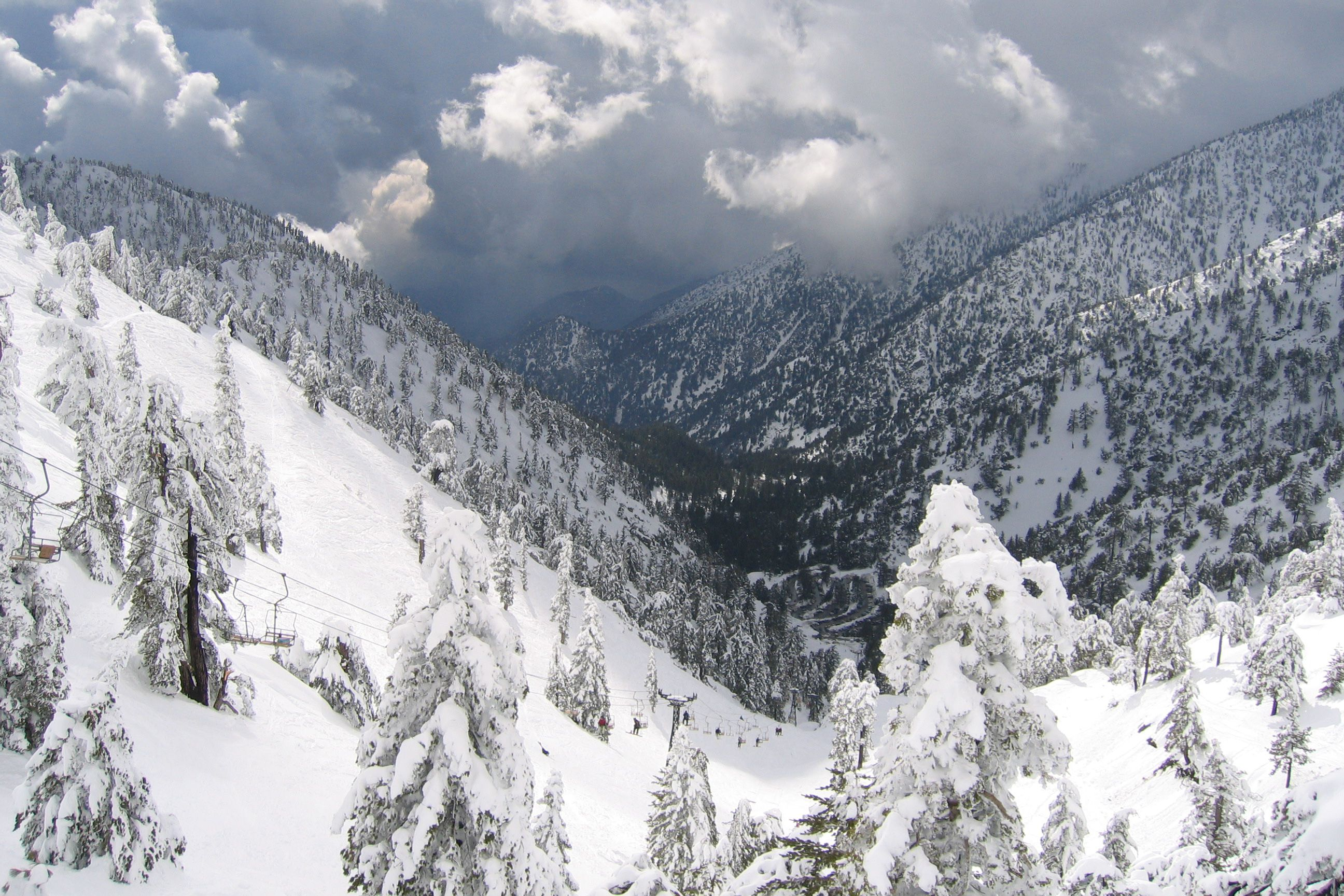 The view from the Top of the Notch restaurant at Mt. Baldy looking toward Los Angeles