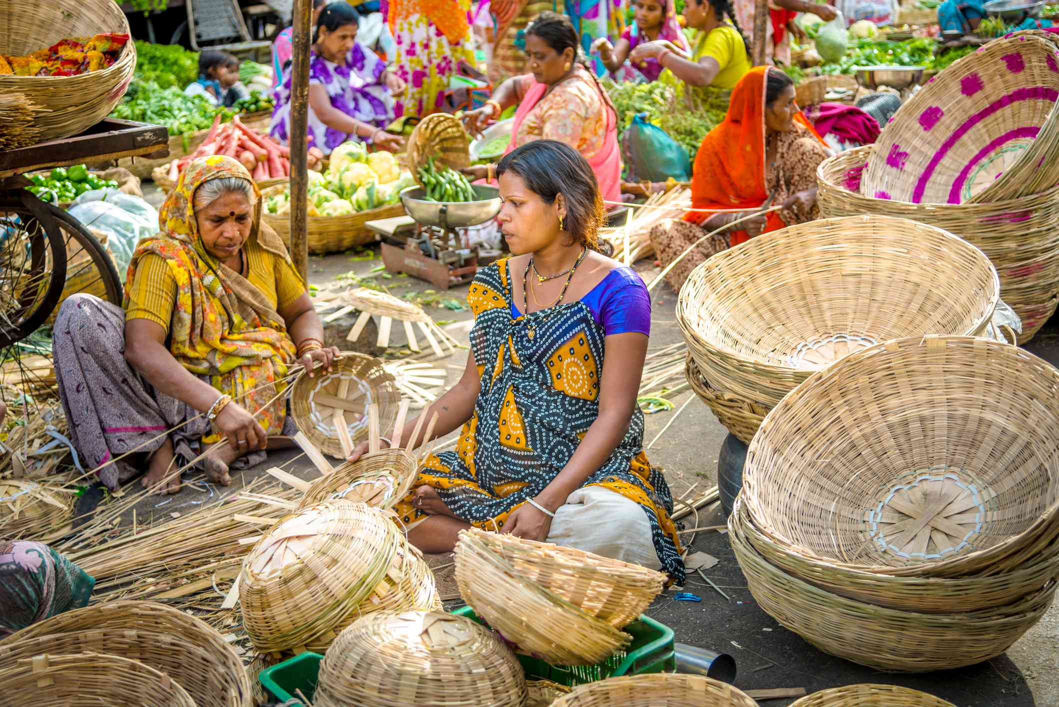 Udaipur basket and vegetable sellers.