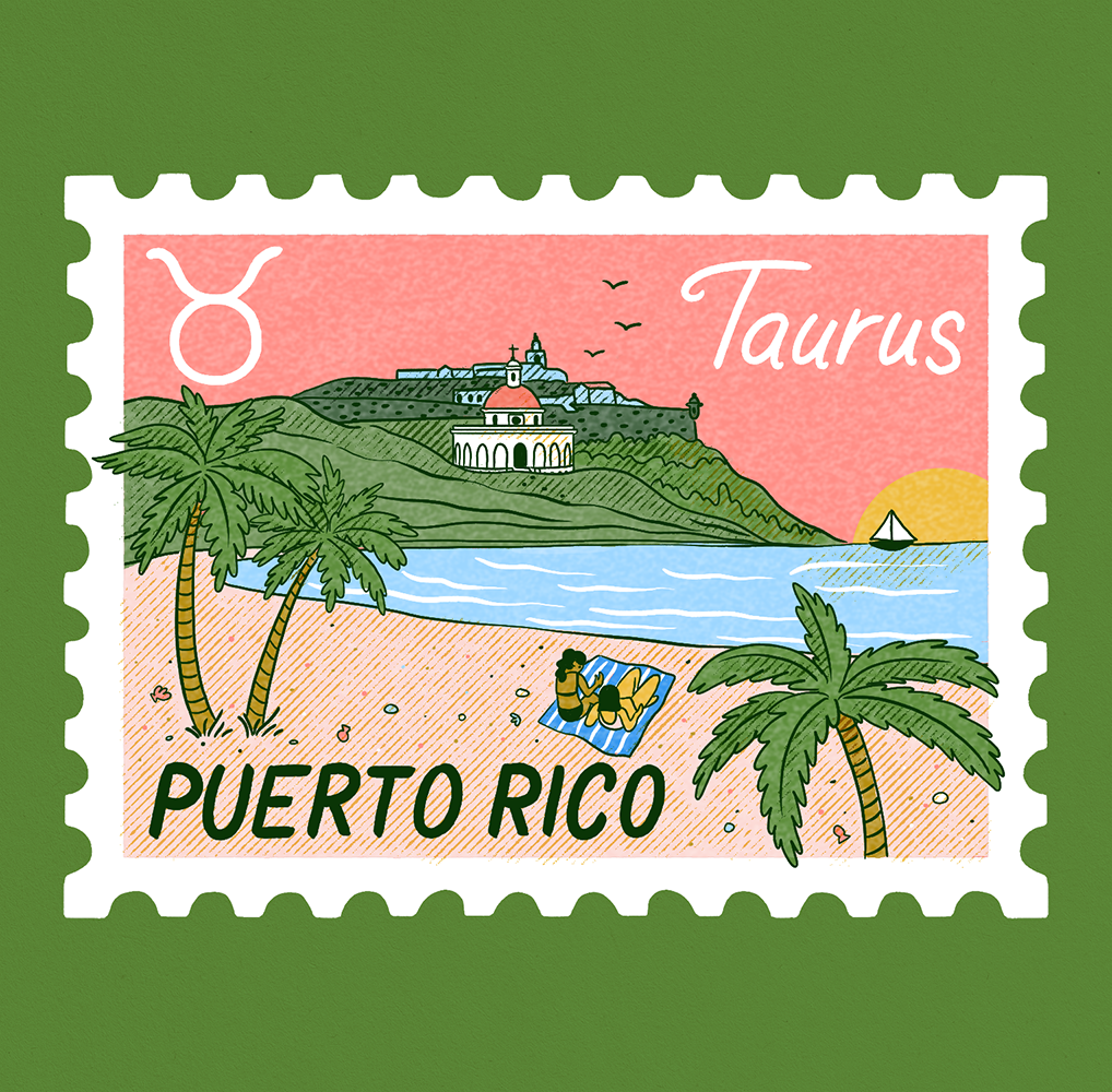 An illustration of a stamp depicting a beach scene in Puerto Rico with mountains in the background and Taurus written on it.