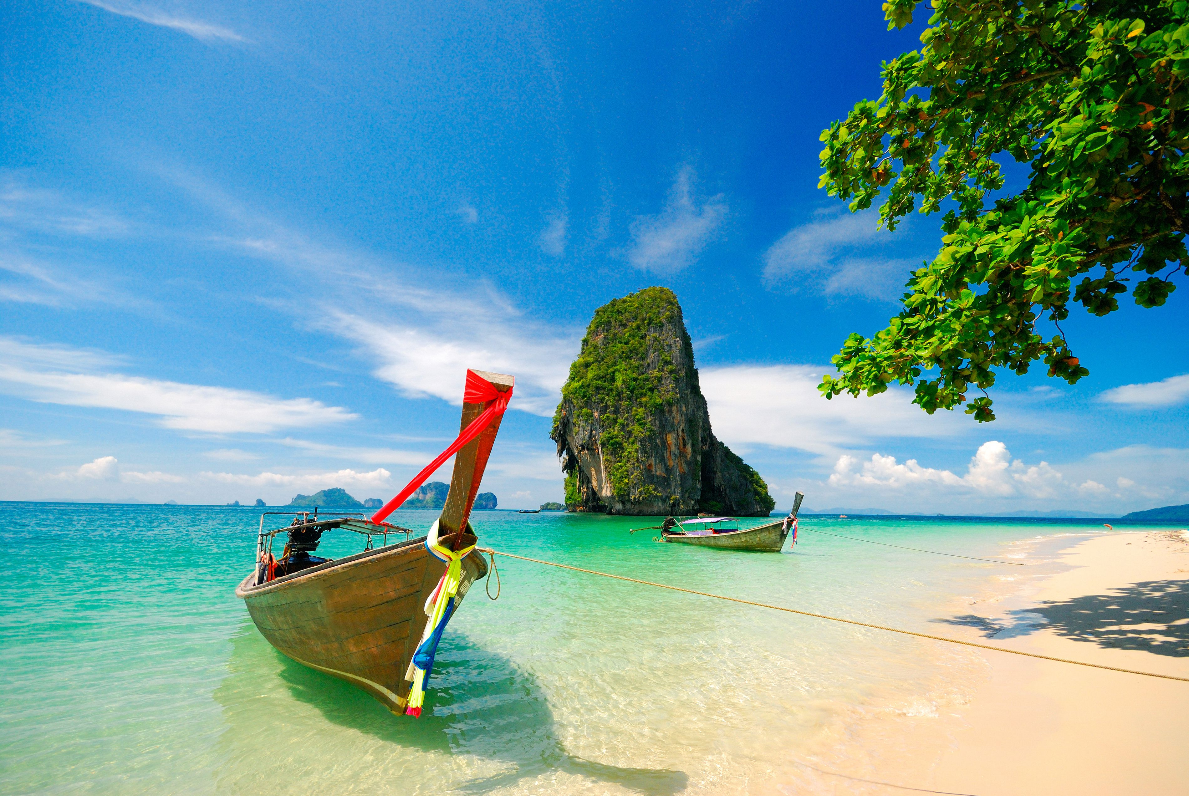 Thailand, Krabi, with boats on shore