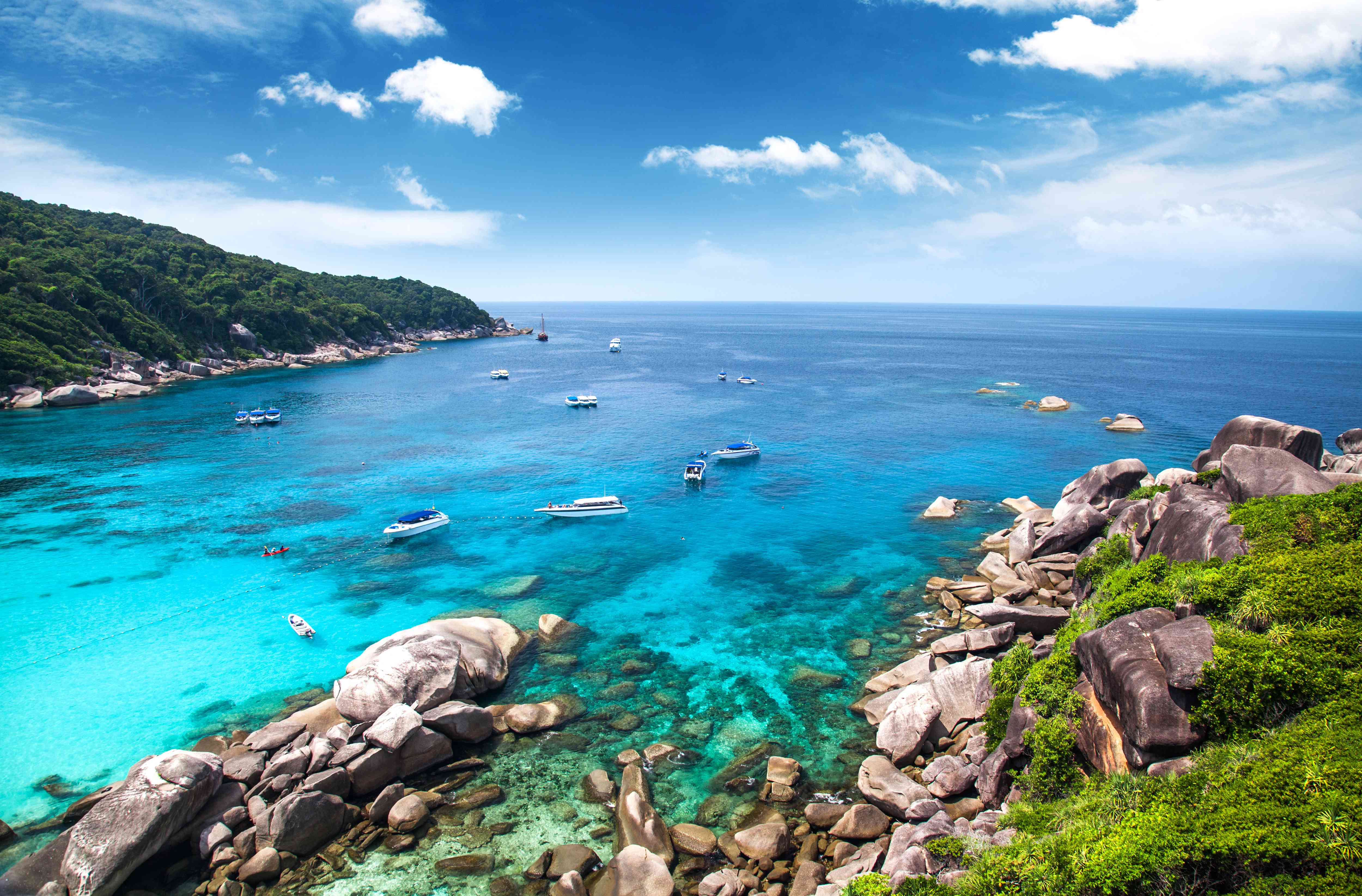 Diving boats in the Similan Islands, Thailand