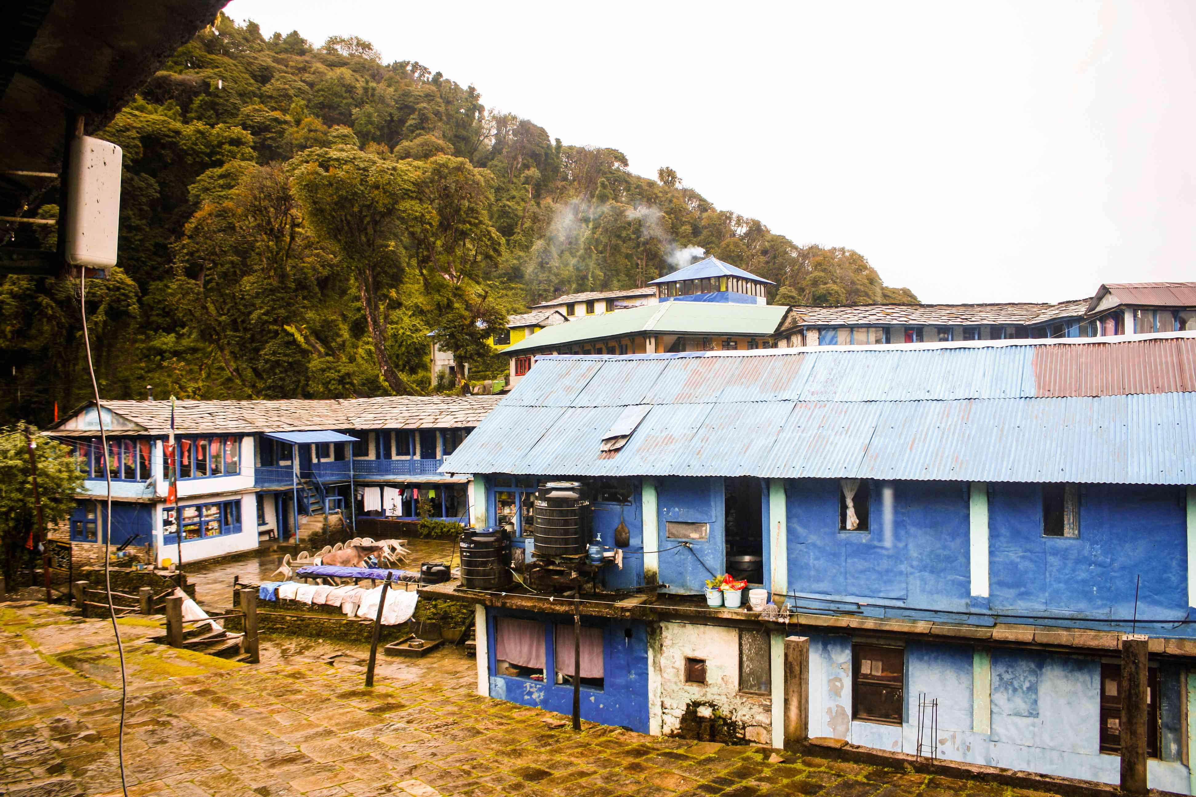 One of the small group of teahouses on the way to Ghorepani Trek and Khopra Trek, Kaski, Nepal.