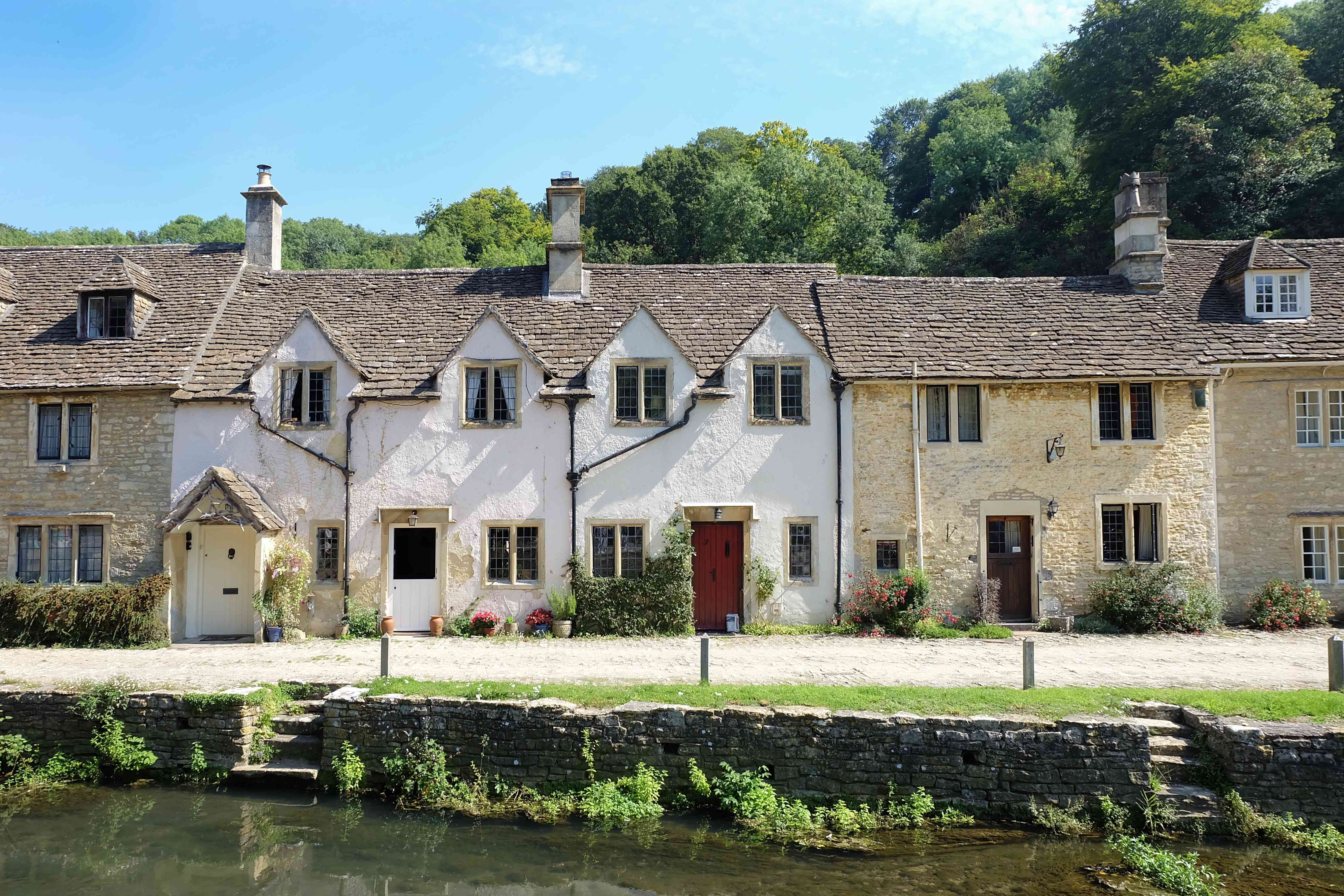 The beautiful houses in Bibury village under the sunlight of the summertime in the UK