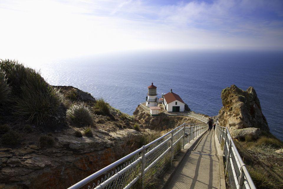 Point Reyes Lighthouse on coastline, Marin County, California, USA