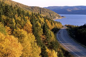 Cars travel a coastal road in Newfoundland, CA
