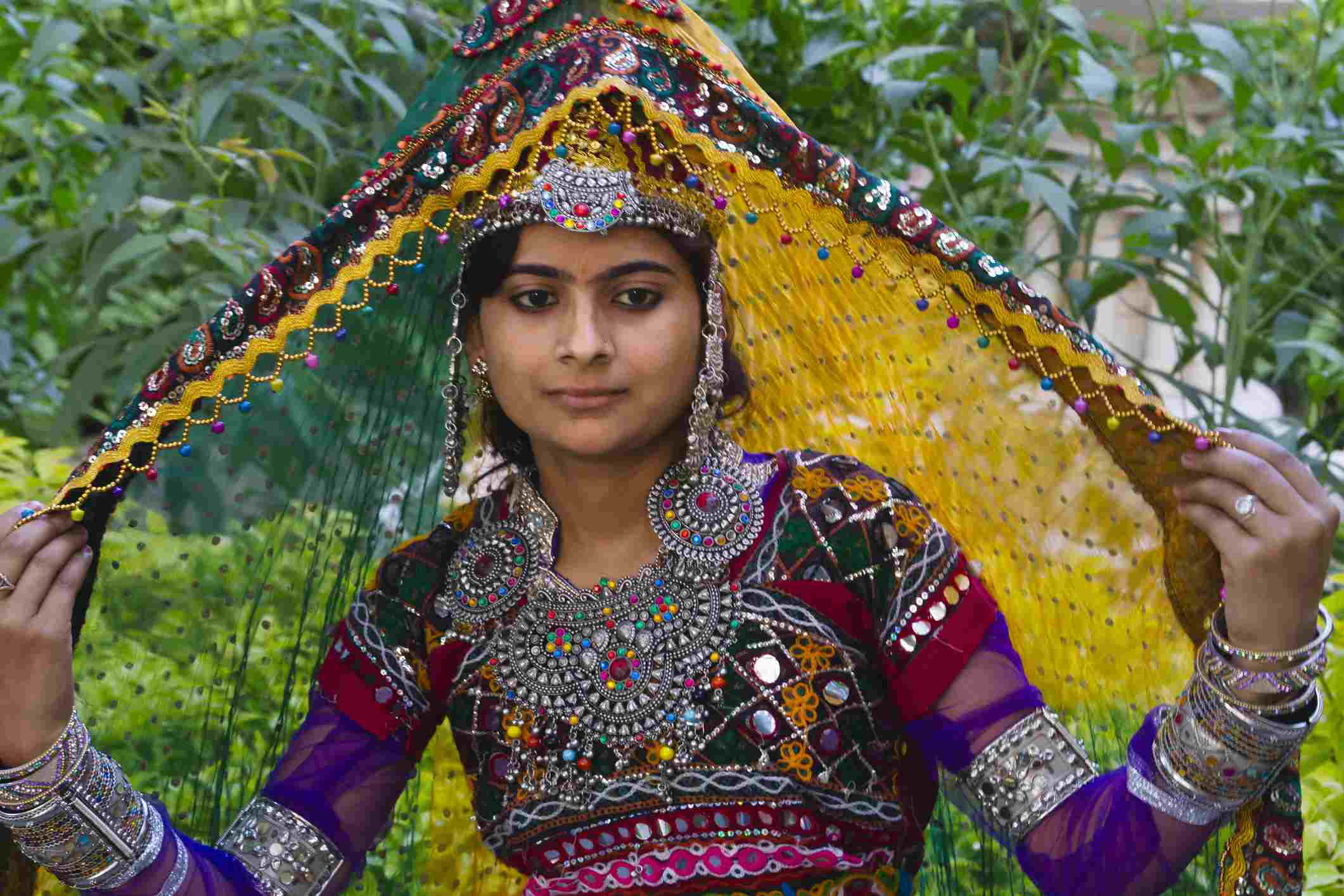 Woman in traditional dress at Mount Abu.