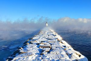 Maine Winter Weather - Spring Point Ledge Light, South Portland