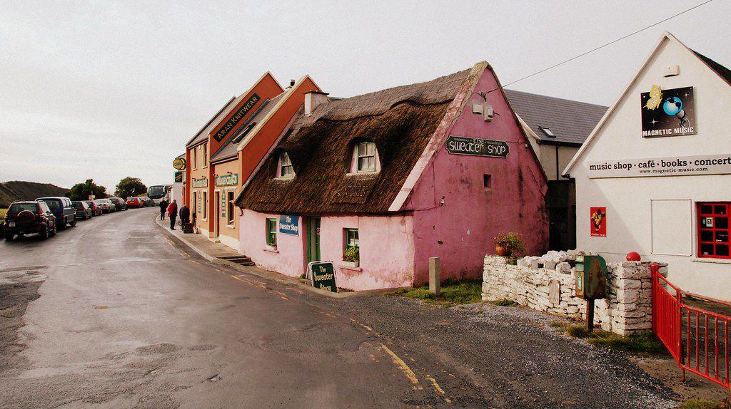 Pink Irish sweater shop on village road