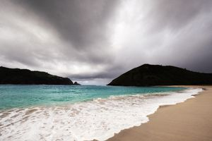 A stormy beach in Asia in May