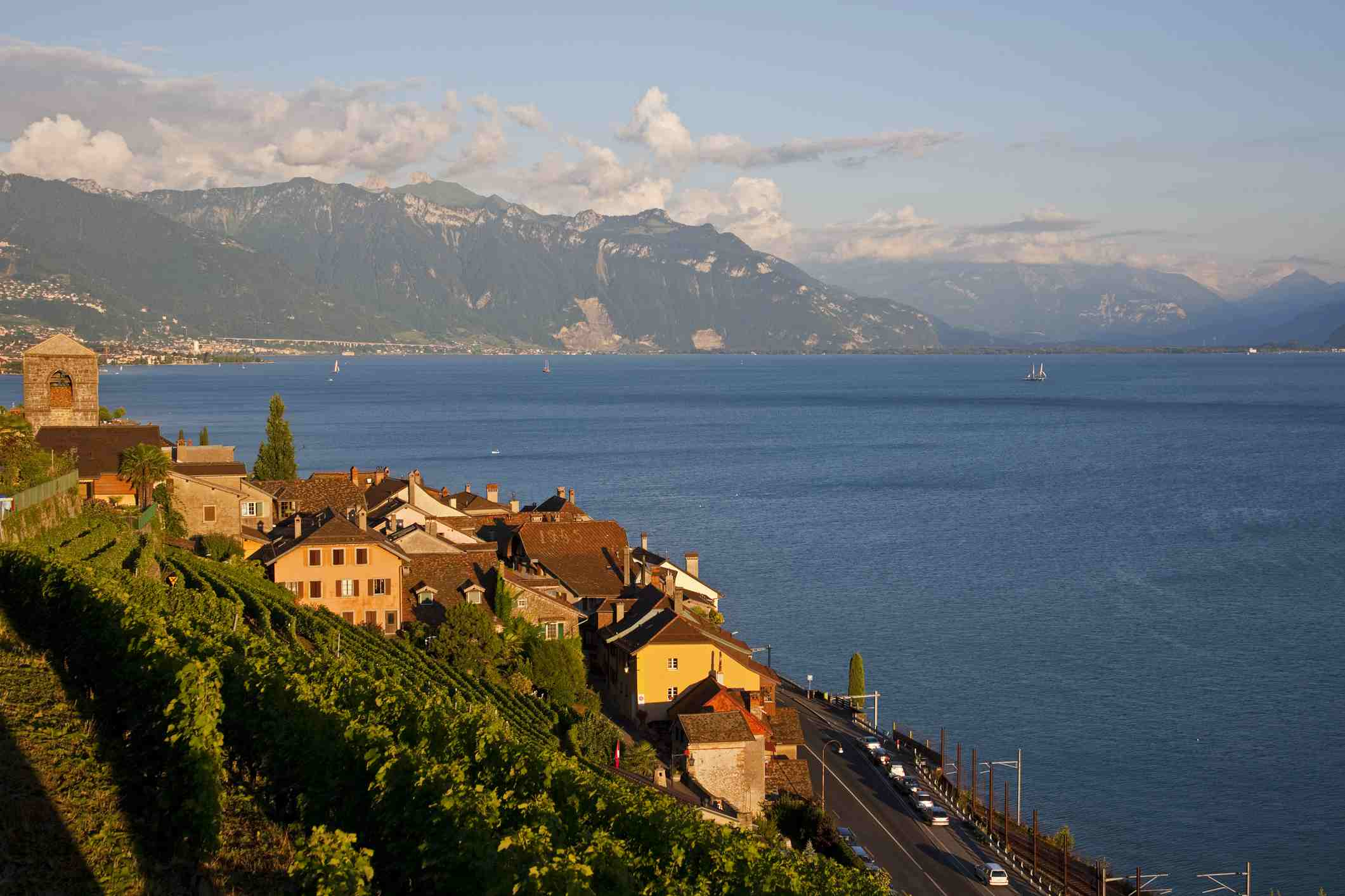 View of Lavaux and Lake Leman. Lavaux is part of a World Heritage Site and is a wine production area with terraces formed since the time of the Romans. Lake Geneva is located on the border between Switzerland and France.