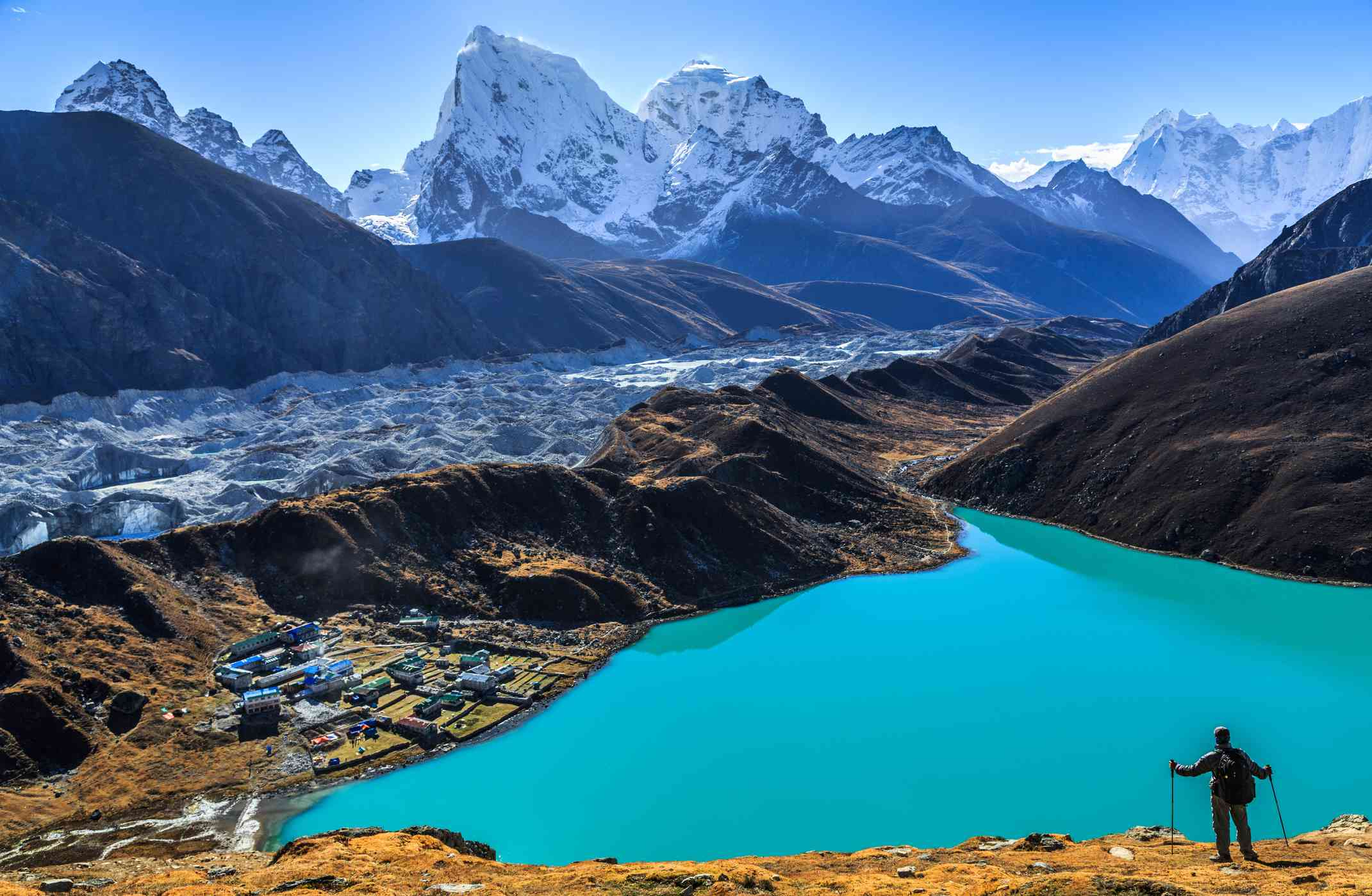 bright turquoise glacial lake with huge snow-covered mountains in backgound and a hiker in foreground