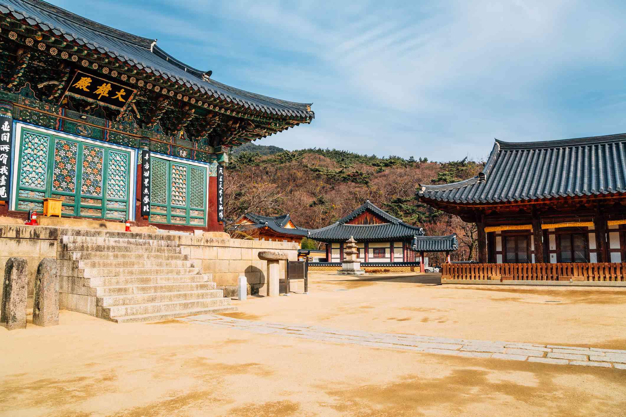 Korean traditional architecture in Donghwasa temple, Daegu, Korea