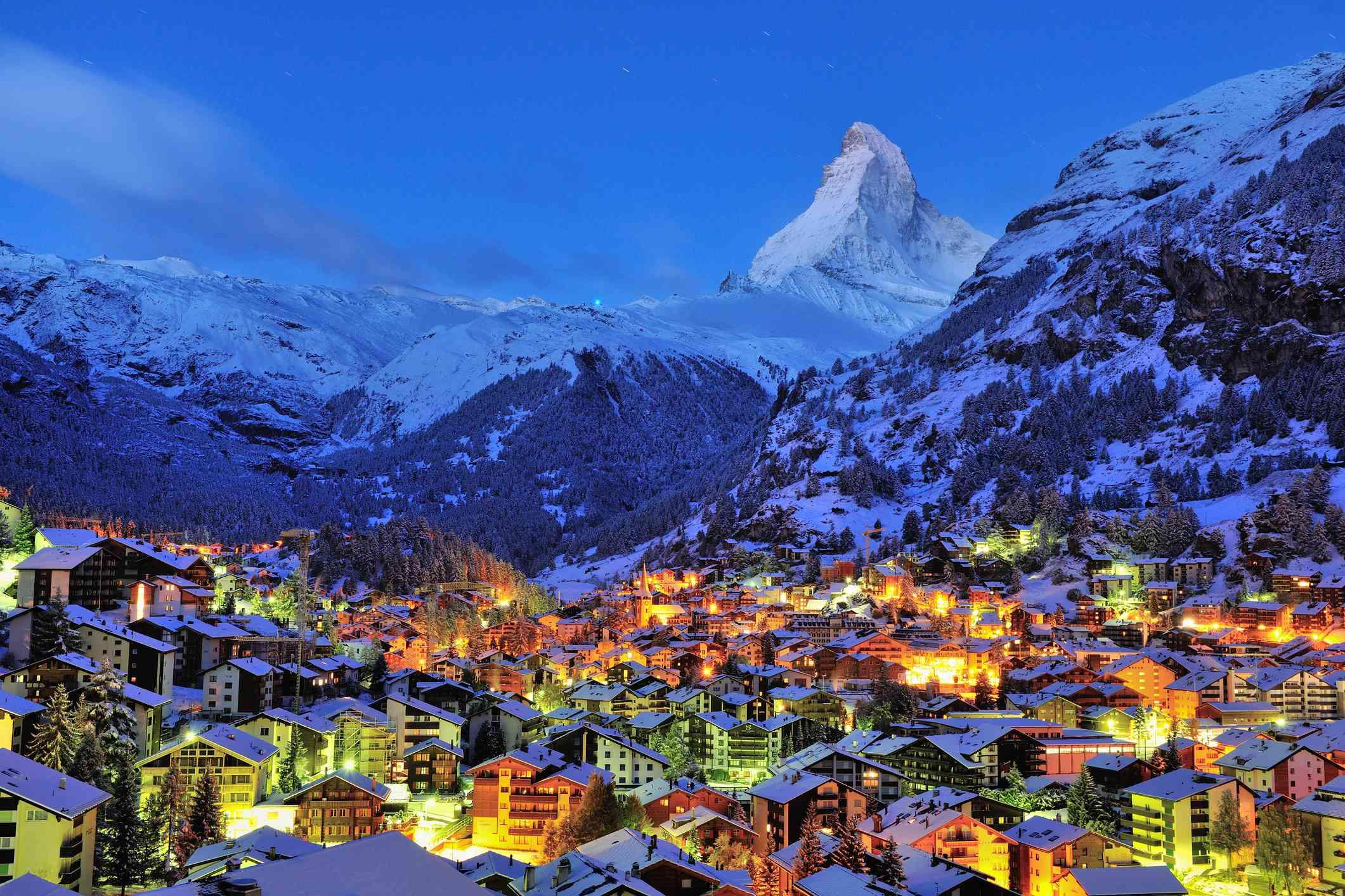Sunrise over Zermatt, with the Matterhorn in background