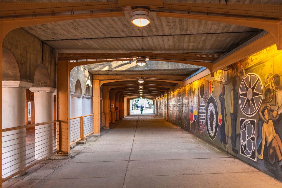 Walkway with murals in Hyde Park