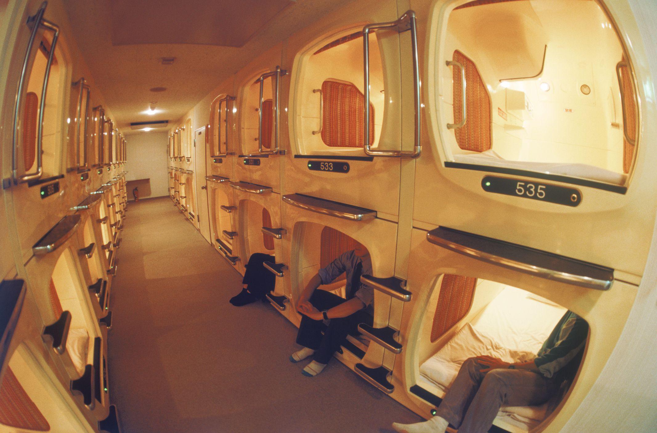 Hasil gambar untuk capsule hotel full