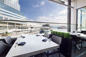 Patio at Miku with view of Canada Place