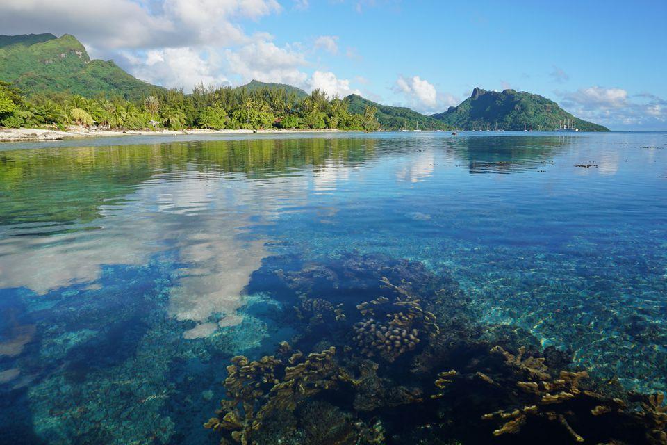 French Polynesia Huahine coastal landscape lagoon
