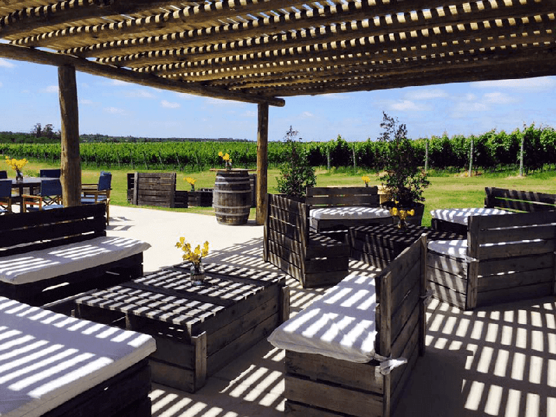 covered, outdoor wooden seating with a vineyard in the background