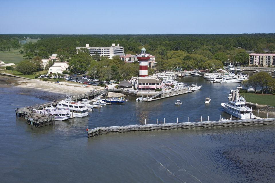 Aerial view of Hilton Head Lighthouse and Marina, South Carolina