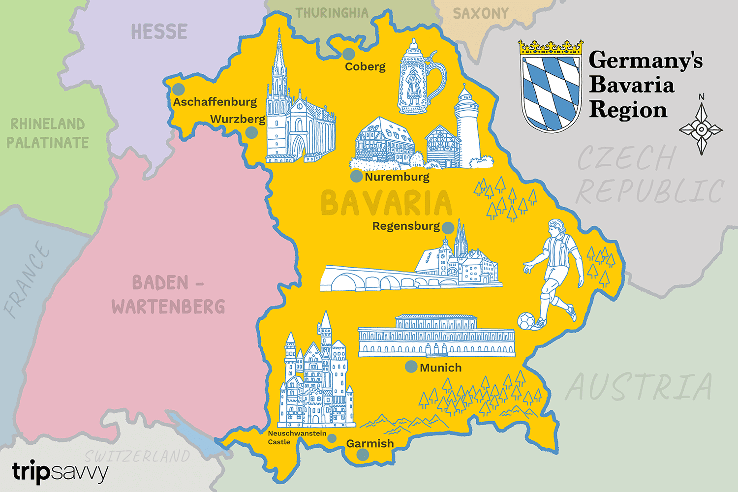 Tourist Map Of Germany With Cities.Travel To The Best Bavarian Cities Munich And Nuremberg
