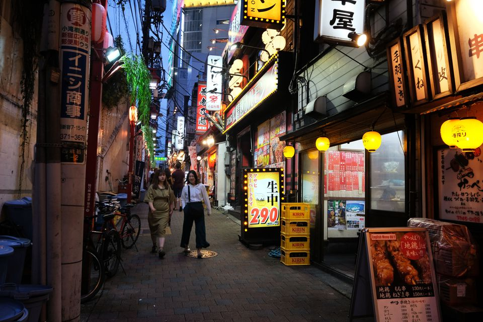 Alleyway full of bars in Tokyo's Memory Lane neighborhood