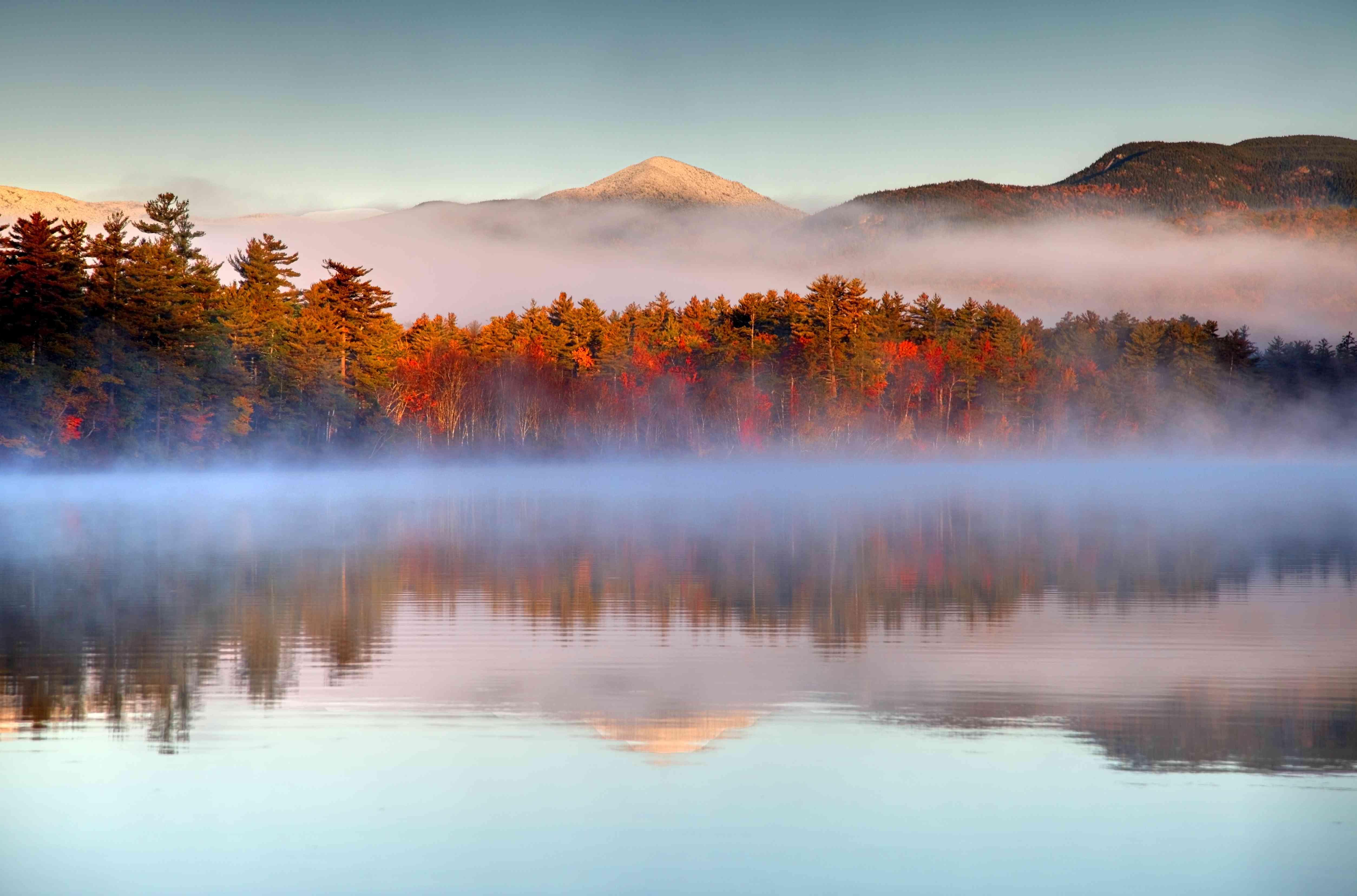 Autumn snowcapped White Mountains in New Hampshire