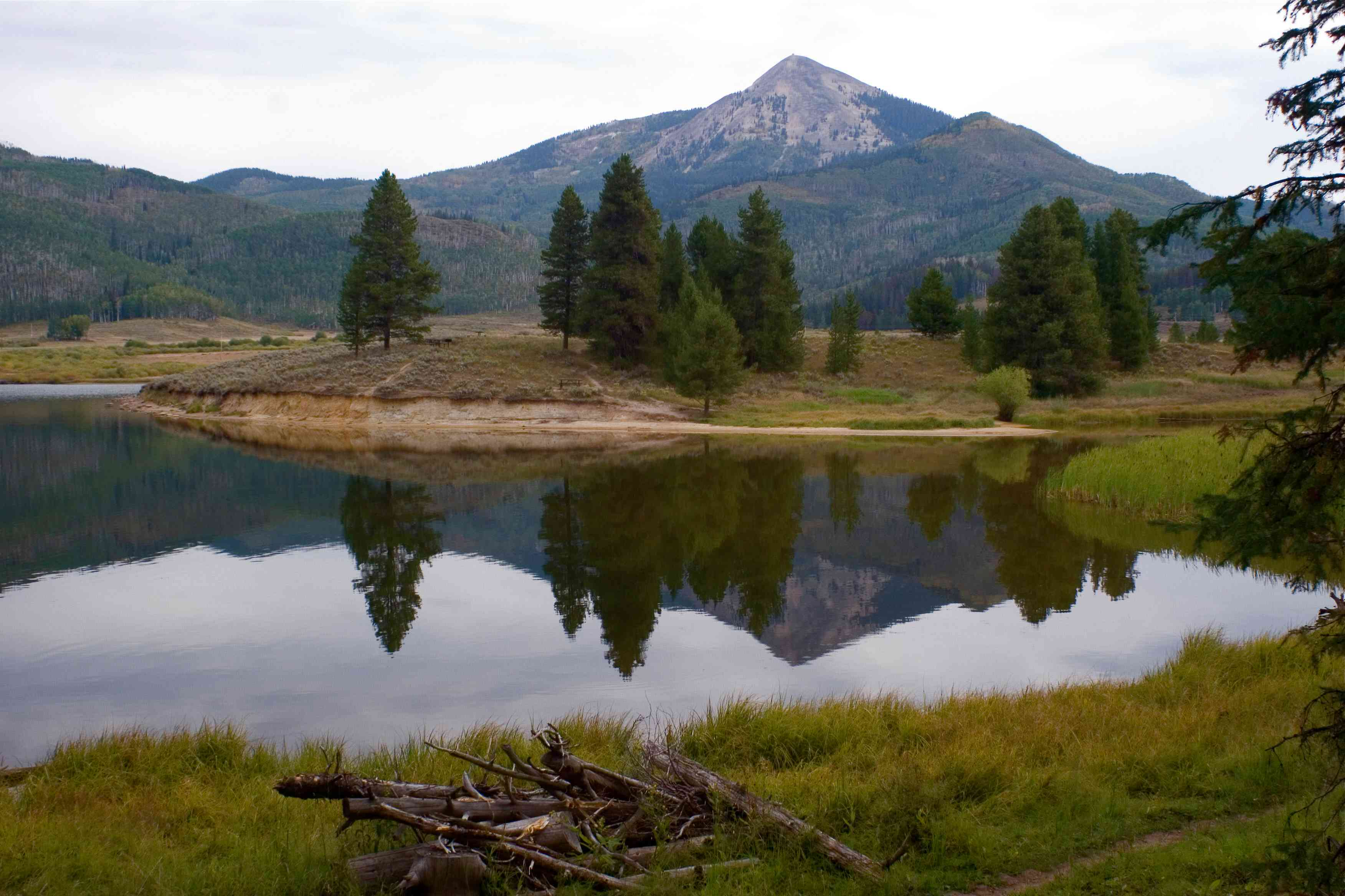 A lake reflection in Steamboat Lake State Park, Colorado