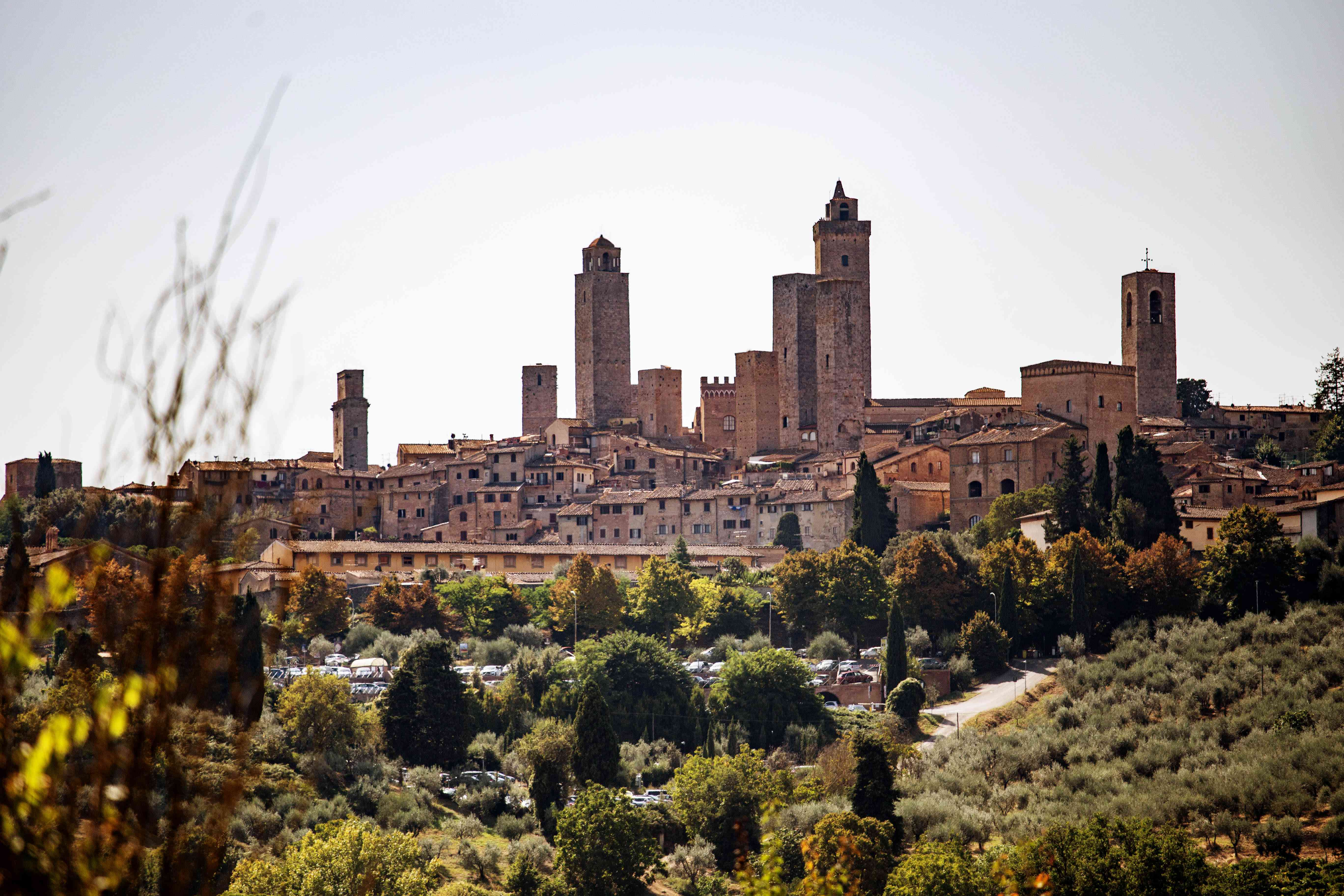 View of San Gimignano up on a hill