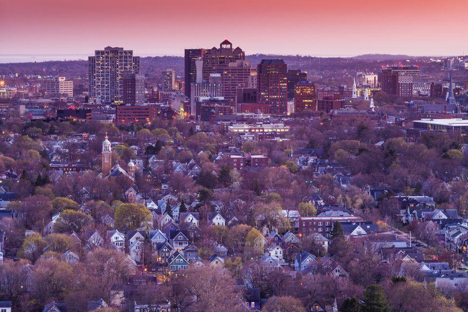 Vista aérea de New Haven desde East Rock Park