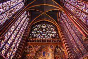 Stained Glass windows in upper chapel, Sainte Chapelle Church, Paris, France