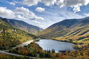 Franconia Notch State Park during Autumn in New Hampshire USA White Mountains National Forest