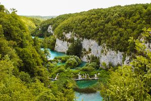 Aerial view of Plitvice Lakes