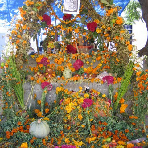 Day of the Dead altar with flowers
