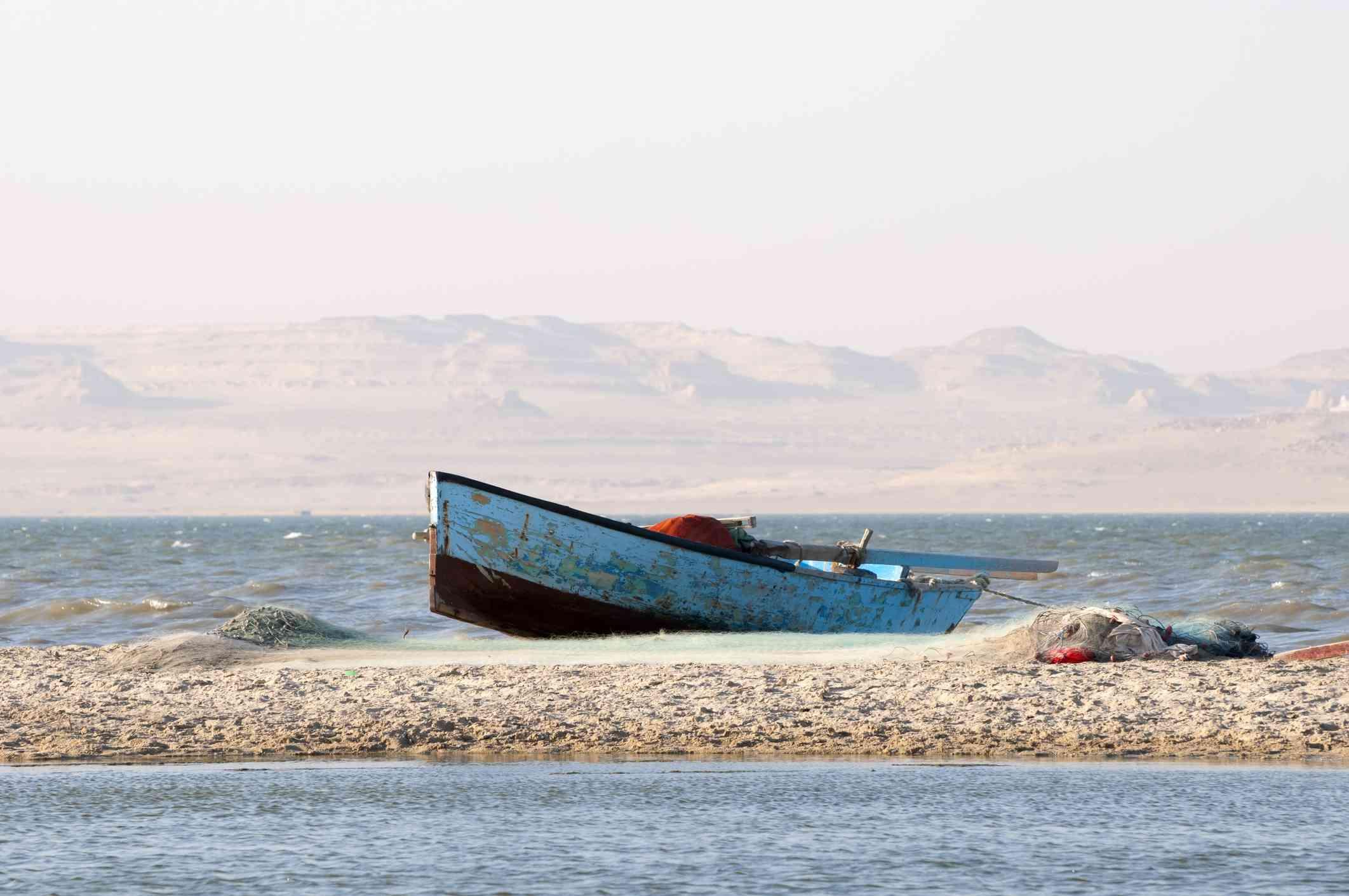 Fishing boat on Lake Qarun, Egypt
