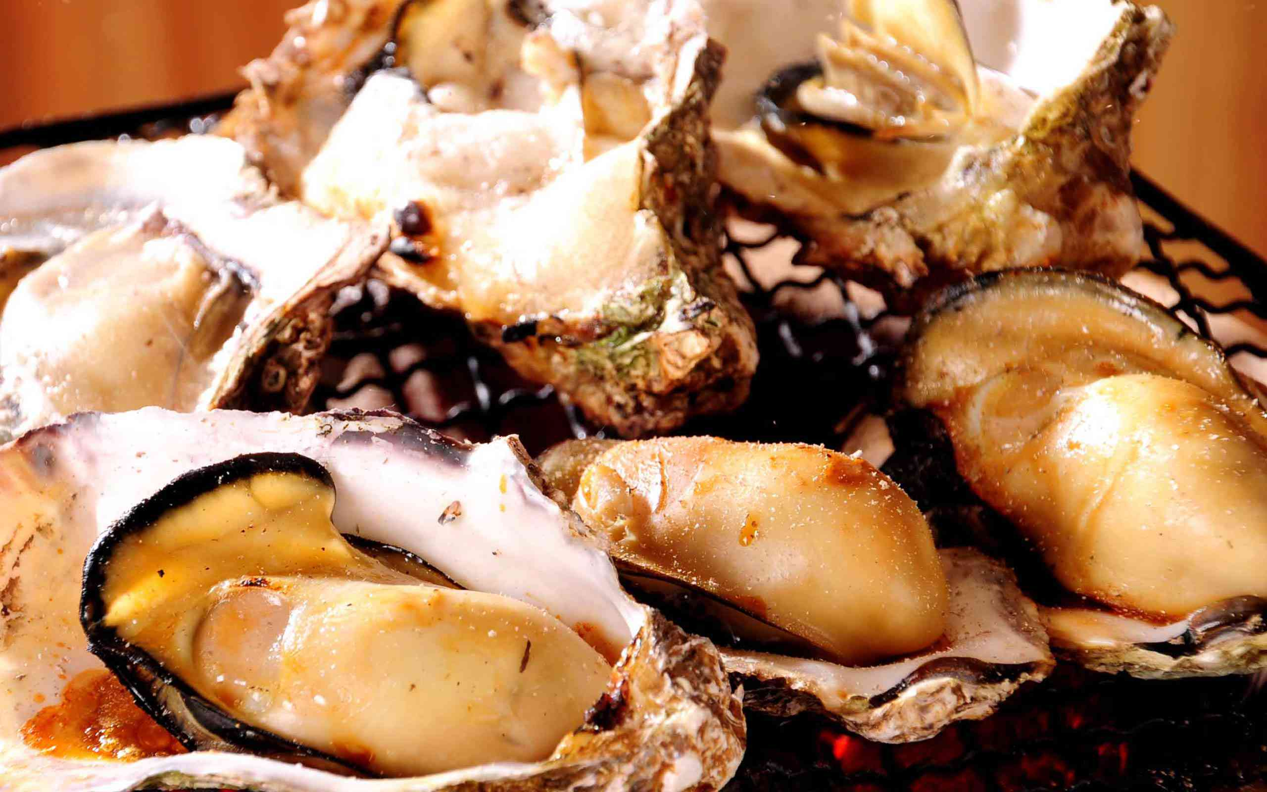 close up of shucked, cooked oysters