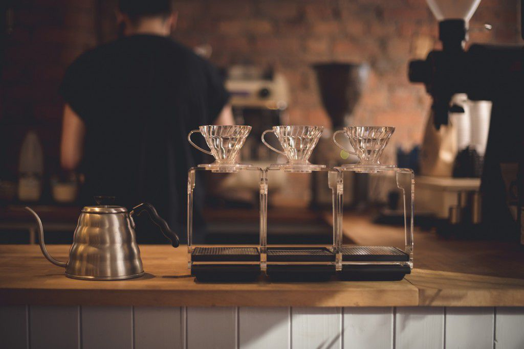 the coffee counter at Takk in Manchester, England