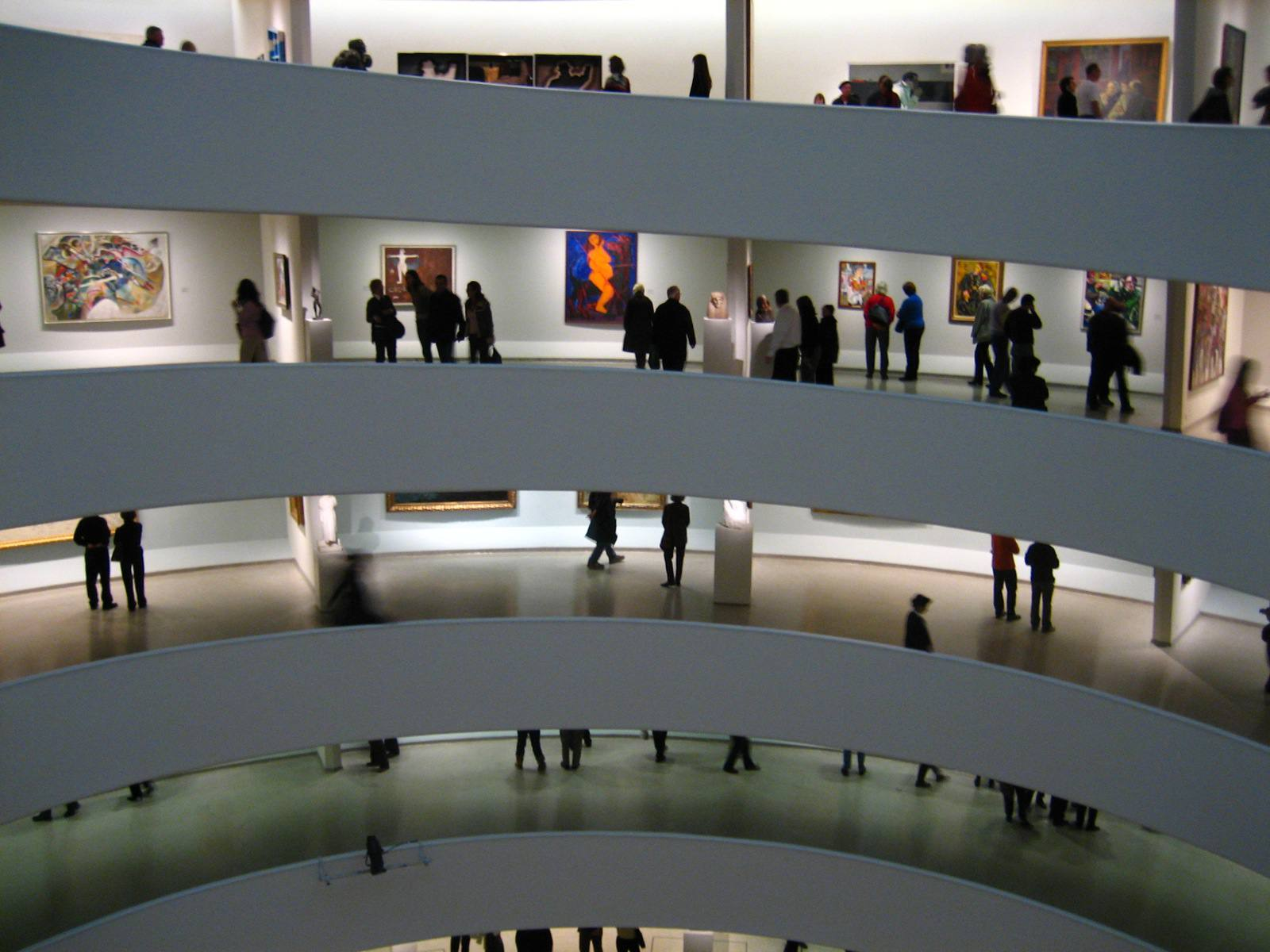 Visitors viewing exhibitions on the spiral at the Guggenheim Museum, NYC