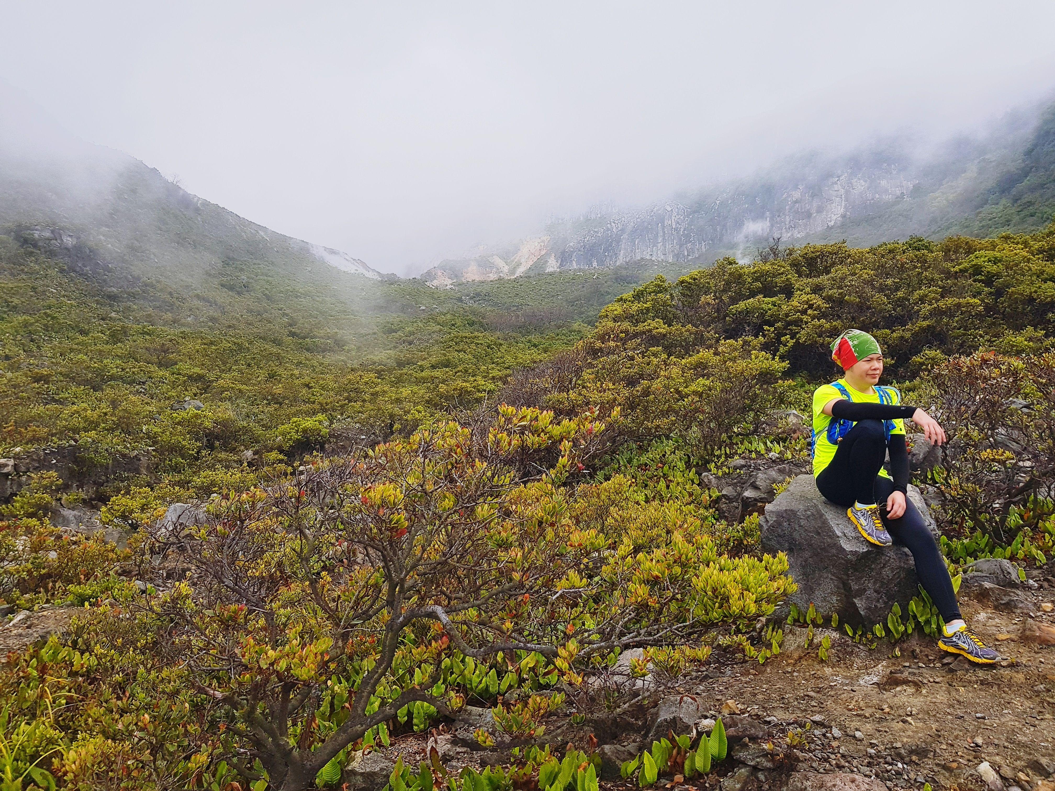 Man Sitting On Rock At Gunung Gede Pangrango National Park During Foggy Weather