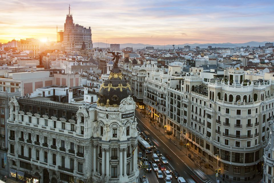 Skyline of Madrid with Metropolis Building and Gra