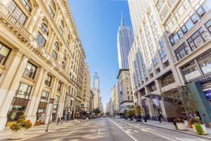 Fifth Avenue and Empire State Building in Manhattan, New York, USA