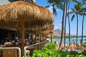 Dukes Canoe Club on the beach at Waikiki