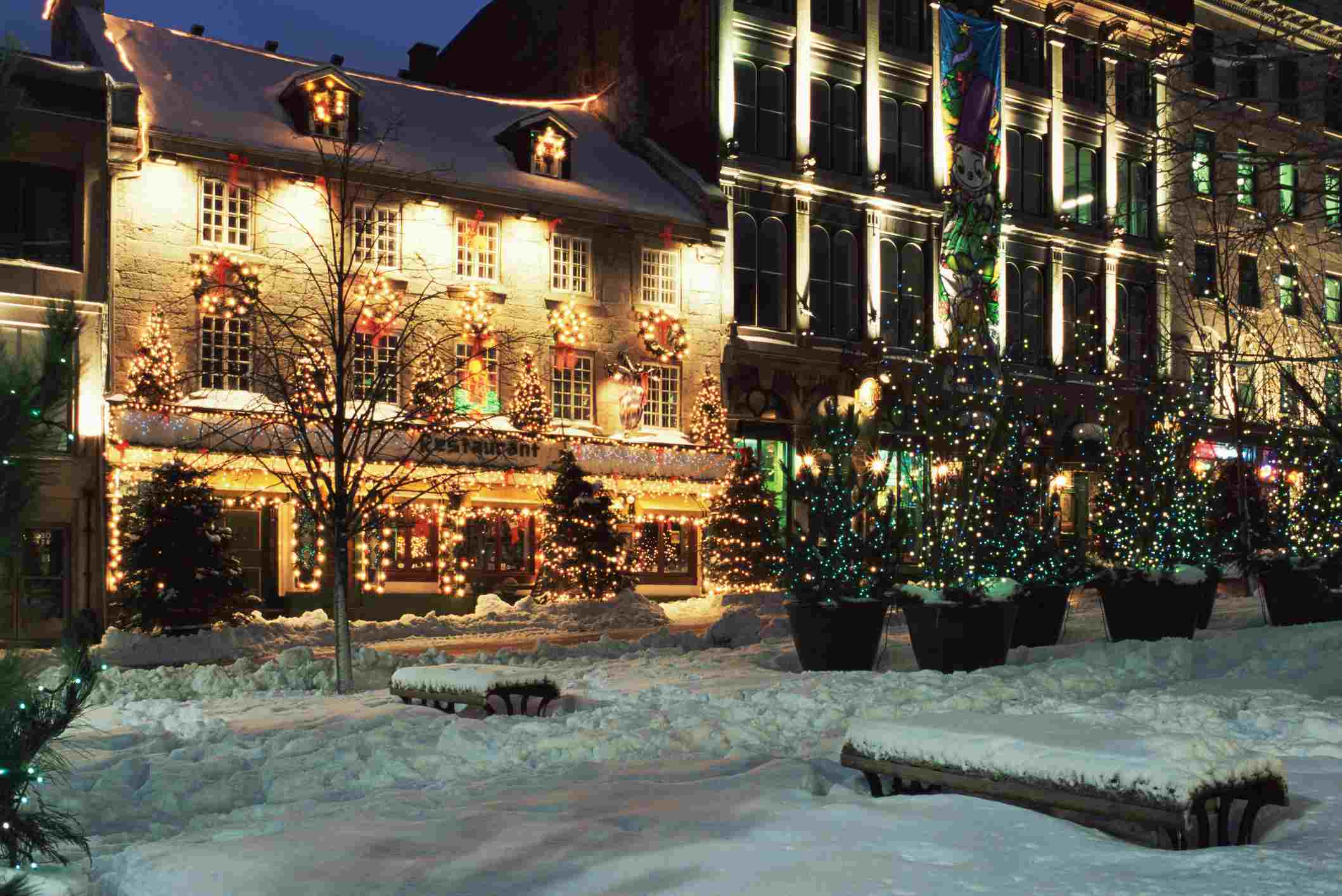 Old montreal street in winter