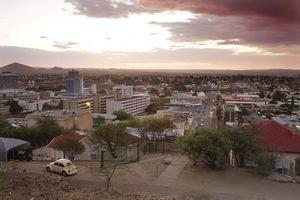 Evening view over Windhoek, Windhoek, Namibia, Africa