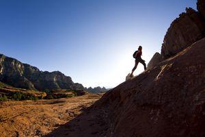 Silhouette of female hiker in Sedona